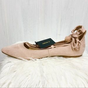 NWT Forever 21 Blush Faux Suede Ballerina Flats